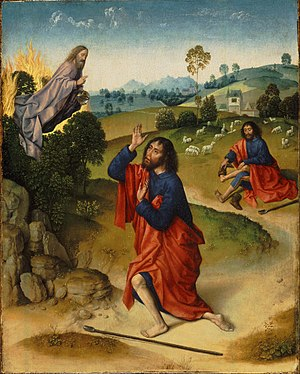 Moses and the Burning Bush, with Moses Removing His Shoes