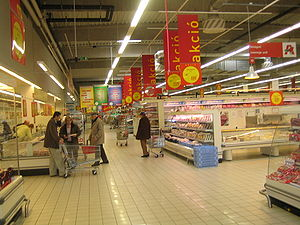 Auchan super market in Budapest, Hungary