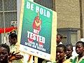 Aufforderung zum HIV-Test bei Studentenprotest Hohoe 2011 B002.jpg