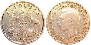 Sixpence (Australian) - A sixpence of 1951, with the reverse side on the left
