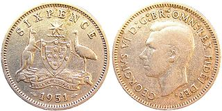 Sixpence (Australian) coin minted in Australia until 1963
