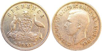 Commonwealth Star - Image: Australian 1951 sixpence
