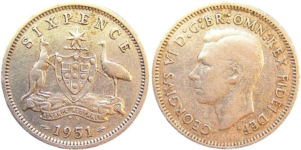 Australian 1951 sixpence