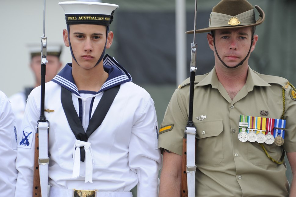 Australian sailor and soldier wearing formal uniforms 2011