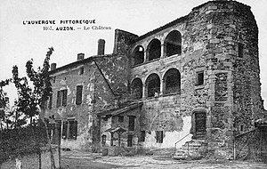 Château d'Auzon - The staircase tower and gallery (post card, c.1900)