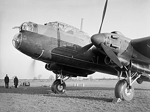 Avro Manchester - The forward section of a Manchester Mark I at Waddington, Lincolnshire, showing the nose with the bomb-aimer's window, the forward gun-turret and the cockpit, September 1941