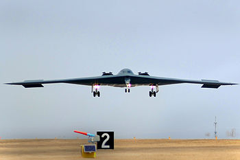 English: One of three U.S. Air Force B-2 Spiri...