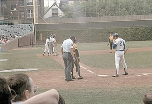 Jay Johnstone - Johnstone (21) batting for the Cubs in 1983