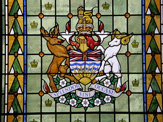 Coat of arms of British Columbia - The arms rendered in stained glass in the provincial parliament building in Victoria
