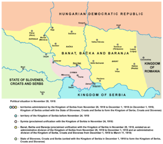 de facto province of the Kingdom of Serbia and the Kingdom of Serbs, Croats and Slovenes between 1918 and 1919/1922