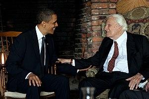 English: President Barack Obama meets with Rev...