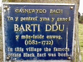Bartholomew Roberts - Bart Roberts' memorial stone in Casnewydd Bach