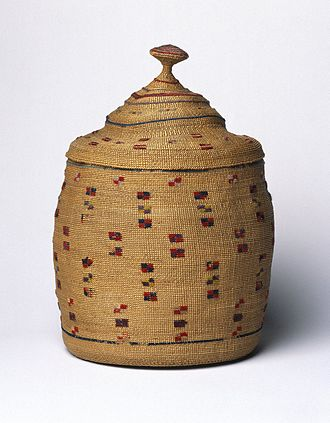 Aleut - Unknown Aleut artist, sea-lyme grass basket and lid embellished with wool embroidery, early 20th century, Brooklyn Museum
