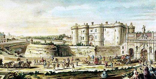 Voltaire was imprisoned in the Bastille from 16 May 1717 to 15 April 1718 in a windowless cell with ten-foot-thick walls. Bastille 1715.jpg
