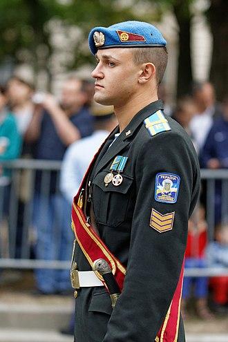 Military beret - A Ukrainian military cadet in a light blue beret.