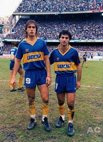 Gabriel Batistuta - Batistuta with Diego Latorre in Boca Juniors, 1991