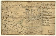 A stained and discolored manuscript sketch. The two man roads of Trenton run parallel north-south, with the bridge over Assunpink Creek just to the south. Further south and west the wide Delaware River is shown. The American force indicators are shown moving along two roads that approach Trenton from the northwest; some forces move across the bridge to the southeast side of the creek, while others envelop the Hessian forces attempting to form up to the east of the town.