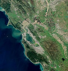 A satellite image of the Bay Area, depicting features visible from space.
