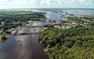 Des Allemands, Louisiana - Bayou Des Allemands in 2003. View is to the south.