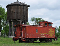 Historic Beaumont water tower and Santa Fe caboose (2015)