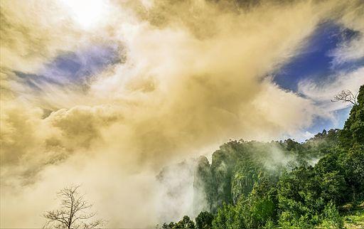 Beautiful misty view of Pillar Rocks of Kodaikanal, Tamil Nadu, India