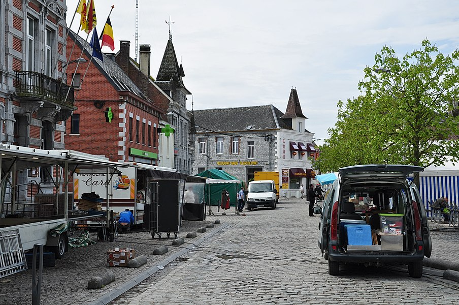 End of Saturday's weekly market at the main square (Place d'Armes) in Philippeville, Belgium.