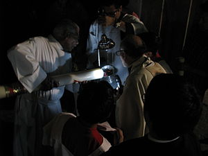 Easter Vigil - Lighting of a paschal candle for Holy Week in Mexico