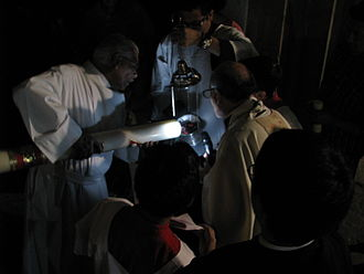 Easter Vigil - Lighting of a paschal candle in Mexico City.