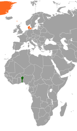 Map indicating locations of Benin and Denmark