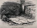 Benjamin Franklin's grave in Philadelphia. Wood engraving. Wellcome V0018703.jpg