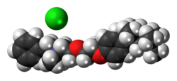 Space-filling model of the component ions benzethonium chloride