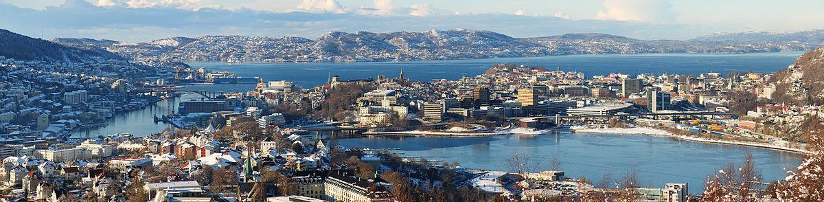 Udsigt mod Bergen centrum fra sydøst.