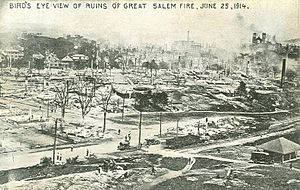 Great Salem fire of 1914 - Bird's-eye view of the ruins
