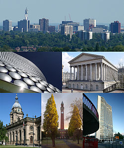 Frå øvst til venstre: Birmingham City Centre frå vest; Selfridges i Bull Ring; Birmingham Town Hall; St Philip's Cathedral; University of Birmingham; Alpha Tower.