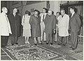 Bisschop Bomers op bezoek in de Grote of St. Bavokerk. Op de foto bekijkt het gezelschap de vloer van de zuidbeuk. NL-HlmNHA 54025678.JPG