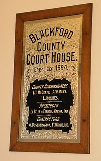 Commemorative plaque inside courthouse