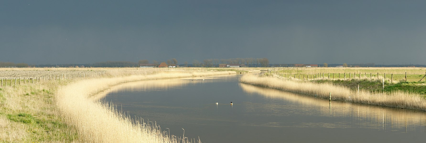 View on te Blankenbergse Vaart at the Uitkerkse Polders, Blankenberge, Belgium
