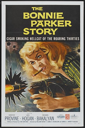 1958: Parker was portrayed in the media as a dominant tough girl who ran a gang of several subservient men, such as in The Bonnie Parker Story BonnieParkerStory-poster.jpg