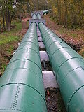 The pipes supplying water from the River Clyde to Bonnington hydroelectric power station, Scotland.