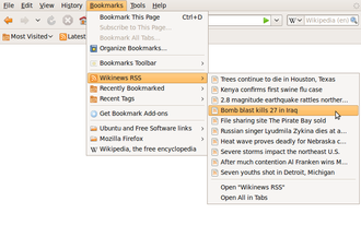 Bookmark (digital) - The bookmarks menu in Mozilla Firefox—both a live (Wikinews) and a static (Wikipedia) bookmark are depicted.