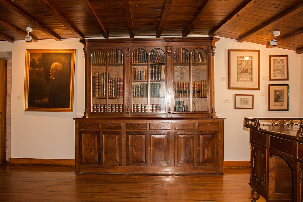Bookshelves on the Rosalía de Castro Museum in Iria Flavia, Padrón, Galicia, Spain
