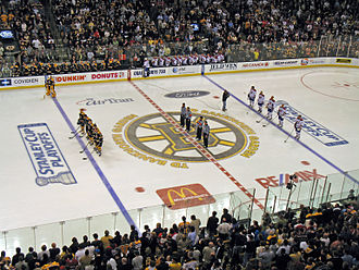 Bruins–Canadiens rivalry - The Canadiens and Bruins at an April 2008 Boston home game, during the 2008 Stanley Cup playoffs