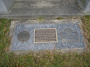 Bothell, Washington - Historical plaque at Bothell Pioneer Cemetery. The cemetery founded in 1889, is listed on the National Register of Historic Places.