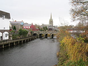 """Church of Ireland and bridge over the <a href=""""http://search.lycos.com/web/?_z=0&q=%22Six%20Mile%20Water%22"""">Six Mile Water</a>"""