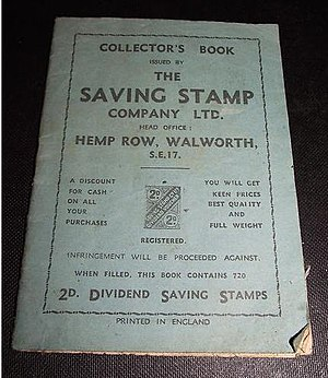 Trading stamp - Image: British dividend savings stamp book