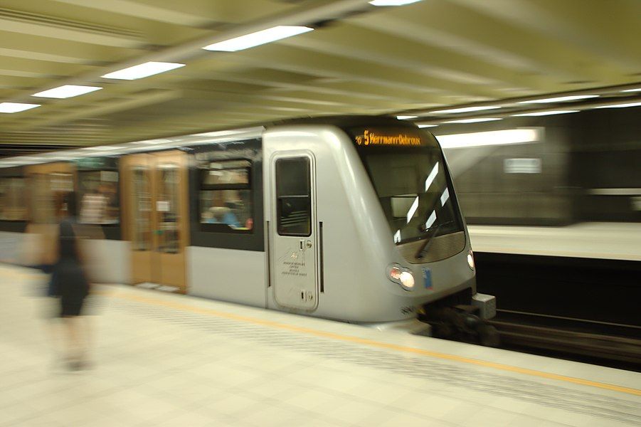 Metro train in the Comte de Flandre metro station, Brussels, Belgium