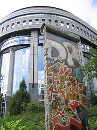 A portion of the wall is on display outside the EU Parliament in Brussels, Belgium.