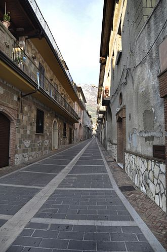 Bucciano - A street in Bucciano, with Mount Taburnus on the background