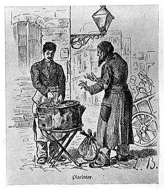 History of the Jews in Romania - A Greek pie-maker and his Jewish client in Bucharest, c. 1880