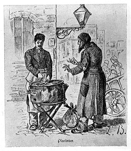 A Greek pie-maker and his Jewish client in Bucharest, c. 1880 Bucharest, Greek pie-maker, 1880.jpg